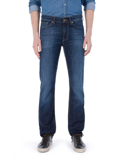 7 For All Mankind | Black Slimmy New York Dark Used Blue for Men | Lyst