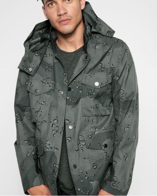 7 For All Mankind - Green Army Jacket In Tonal Camo for Men - Lyst