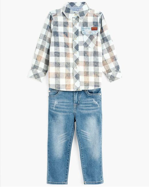 7 For All Mankind - Blue Boy's 12-24m Button Shirt & Jean In Bering Sea Plaid for Men - Lyst