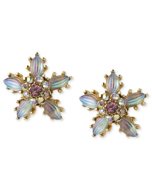 Betsey Johnson | Metallic Antique Gold-tone Crystal Flower Stud Earrings | Lyst