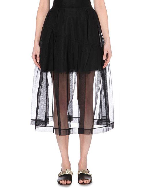 rocha tulle midi skirt in black lyst