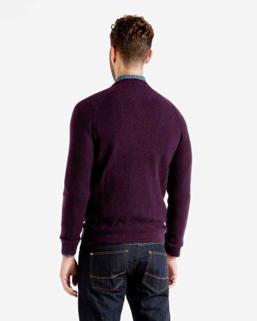 Ted Baker | Purple Textured Wool Jumper for Men | Lyst