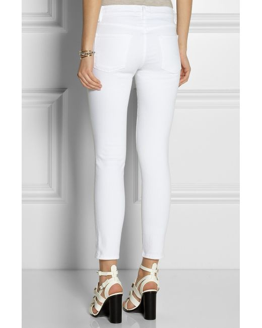 Frame Le Skinny De Jeanne Crop Mid Rise Jeans In White