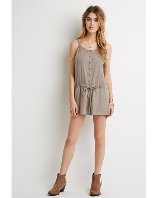 Forever 21   Natural Button-front Drawstring Romper   Lyst