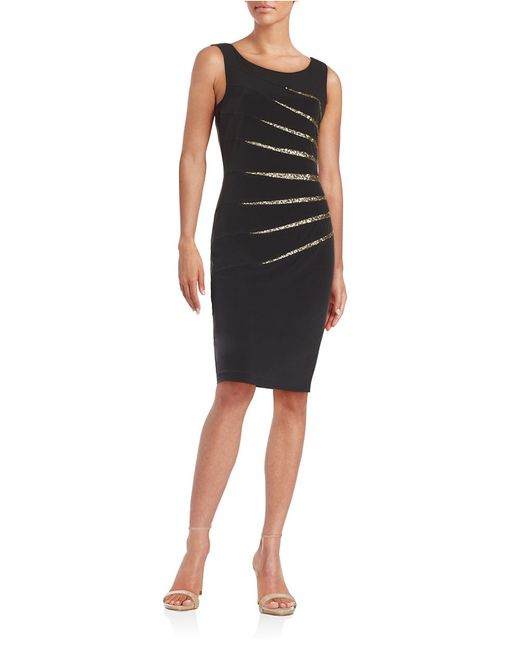 Calvin Klein | Black Striped Sequin Sheath Dress | Lyst