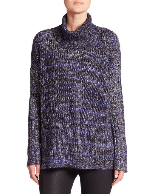 Three Dots | Blue Marled Funnelneck Sweater | Lyst