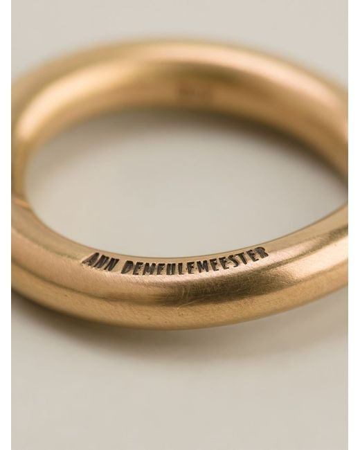 Ann Demeulemeester | Metallic 22kt Gold Curved Ring | Lyst