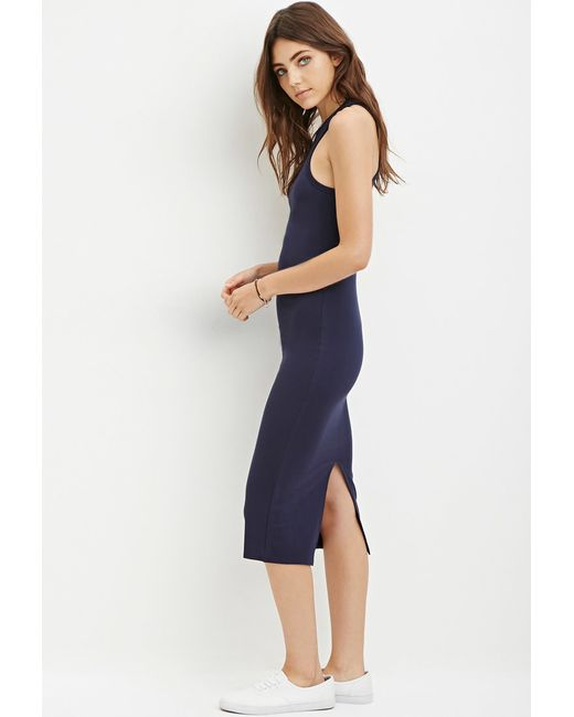 Forever 21 | Blue Racerfront Bodycon Dress | Lyst