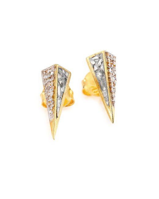 Shana Gulati | Metallic Jemma Champange Diamond Kaur Stud Earrings/goldtone | Lyst