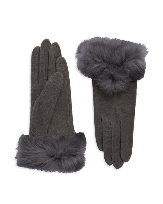 Carolina Amato | Gray Rabbit Fur-trimmed Gloves | Lyst