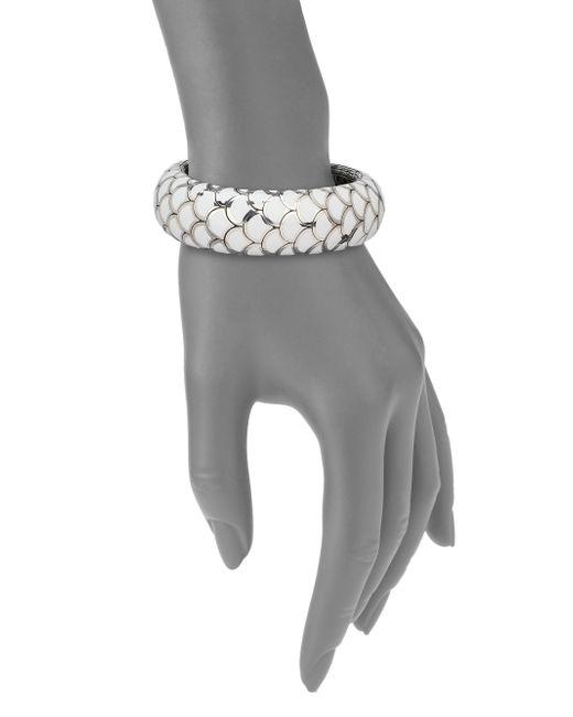 John Hardy | Metallic Naga Enamel  Sterling Silver Wide Flex Cuff Braceletwhite | Lyst