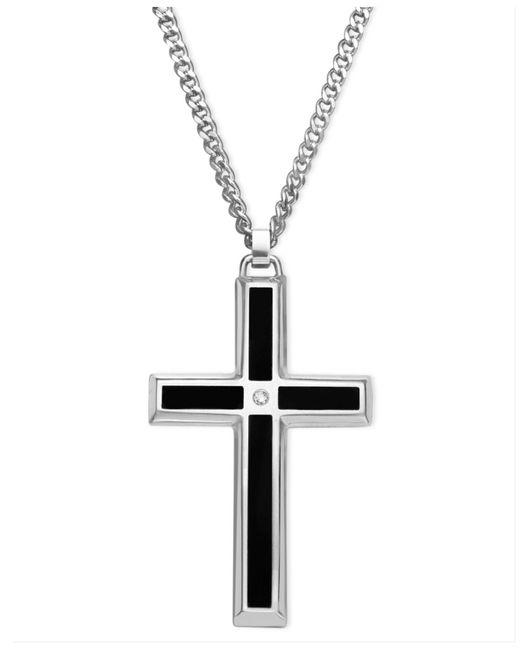 macy s s stainless steel pendant black enamel and