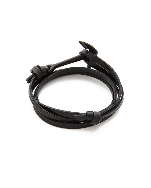 Miansai | Black Anchor Leather Wrap Bracelet for Men | Lyst