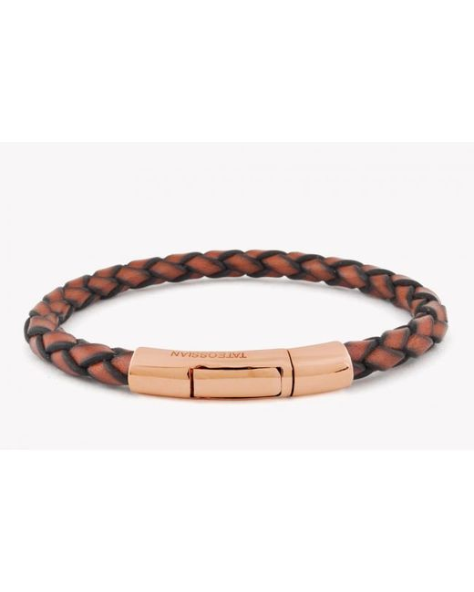 Tateossian | Brown Single Wrap Scoubidou Tan Leather Bracelet With 18k Rose Gold Clasp for Men | Lyst