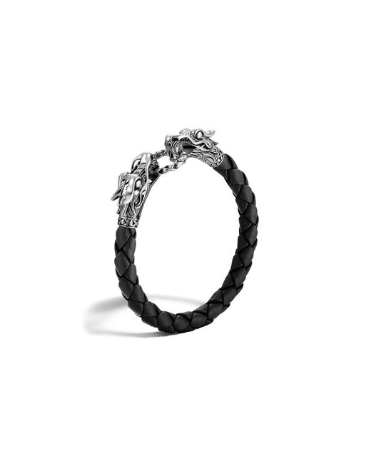 John Hardy | Men's Naga Silver Black Woven Leather Dragon Bracelet | Lyst