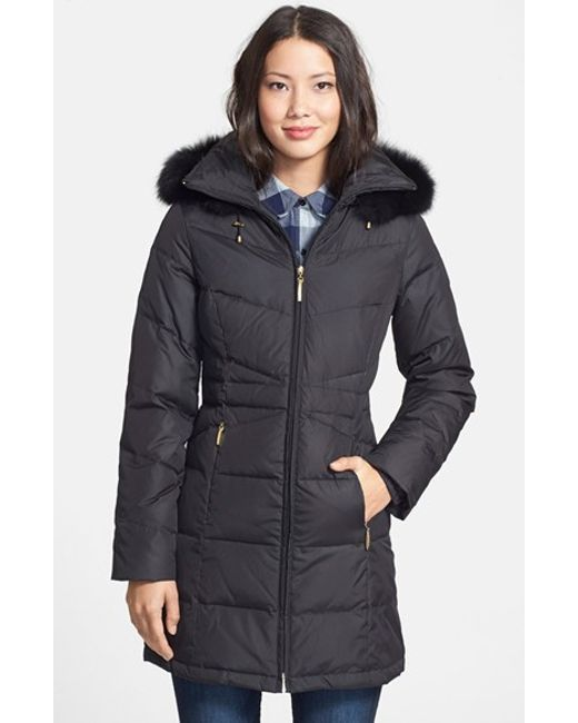 Ellen Tracy | Black Genuine Fox Fur Trim Down Parka | Lyst