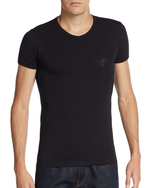 Versace | Black Boxed Cotton Jersey V-neck Tee for Men | Lyst