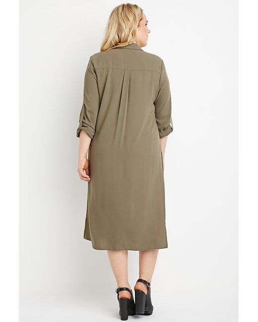 Forever 21 | Green Plus Size Longline High-slit Tunic | Lyst