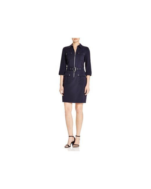 michael michael kors roll sleeve belted shirt dress in