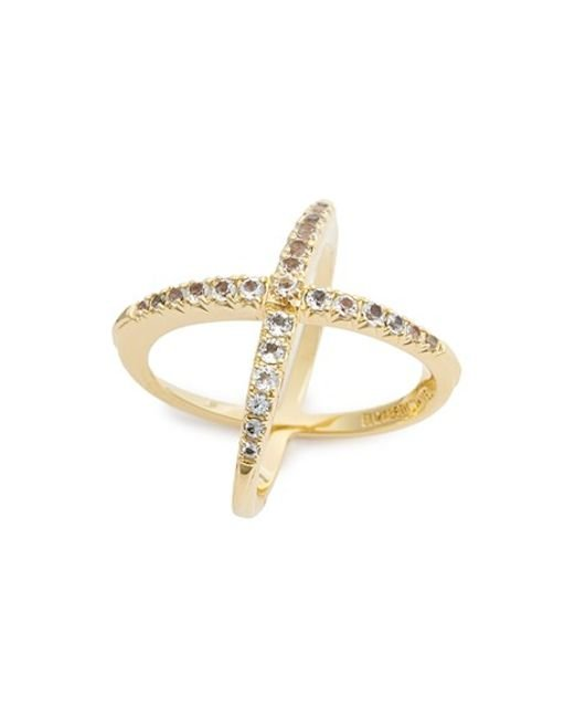 Elizabeth and James | Metallic 'windrose' Pave White Topaz Ring | Lyst