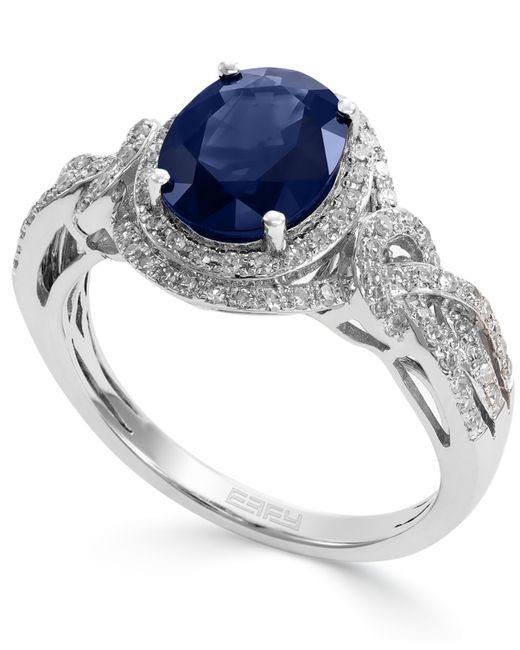 Blue Diamond White Gold Ear Rings
