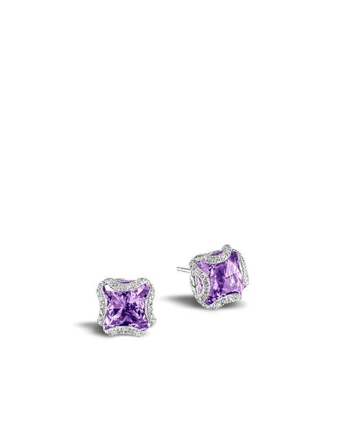 John Hardy | Purple Classic Chain Stud Earring With Amethyst And Diamonds | Lyst