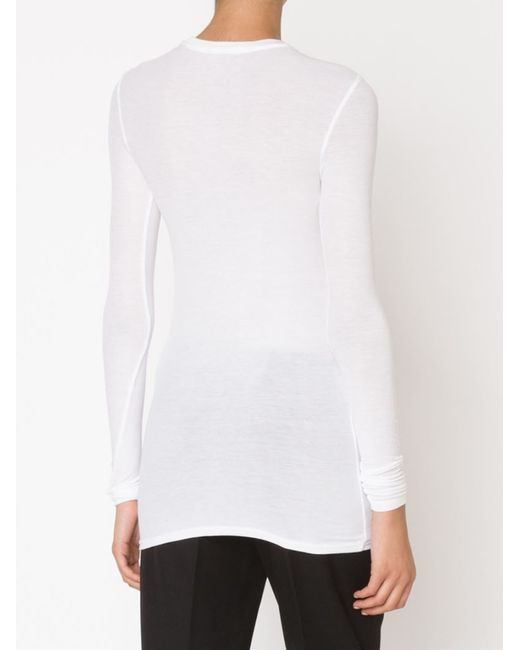 Atm ribbed long sleeve t shirt in white lyst for Ribbed long sleeve shirt