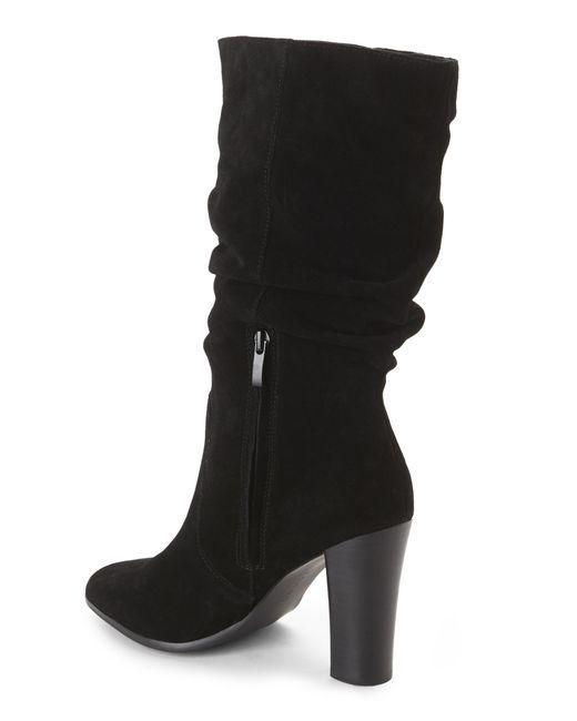 Tahari | Black Alanna Suede Slouchy Mid-calf Boots | Lyst