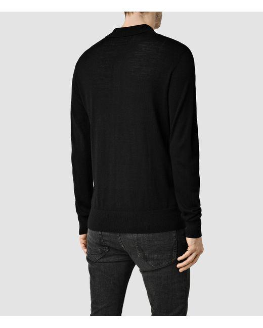 AllSaints | Black Mode Merino Long Sleeved Polo for Men | Lyst