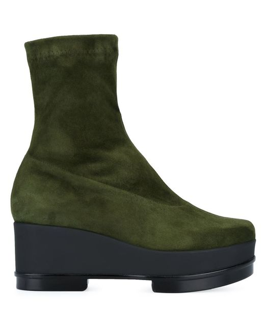 robert clergerie wedge boots in green save 40 lyst