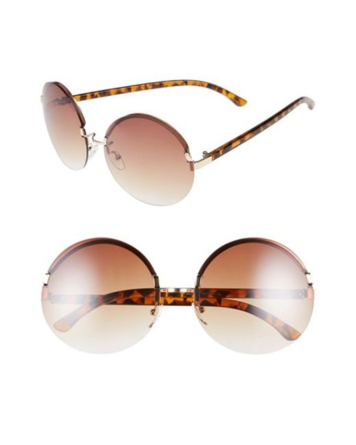 Bp 65mm Rimless Round Sunglasses - Metallic Gold in Gold ...
