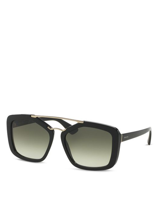 Prada   Black Catwalk Double Bar Square Sunglasses, 56mm   Lyst