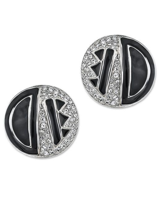 Kenneth Jay Lane | Metallic Black Enamel Art Deco Button Earring | Lyst