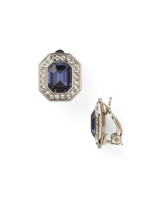Carolee | Royal Blue Crystal Button Clip Earrings | Lyst