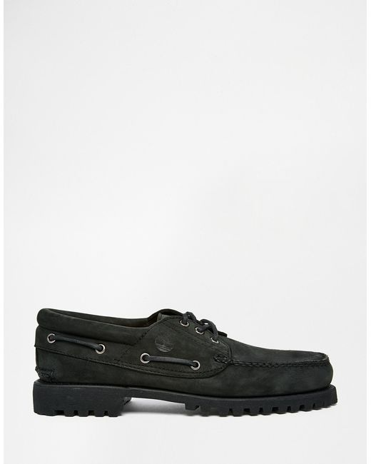 timberland classic lug boat shoes in black for lyst