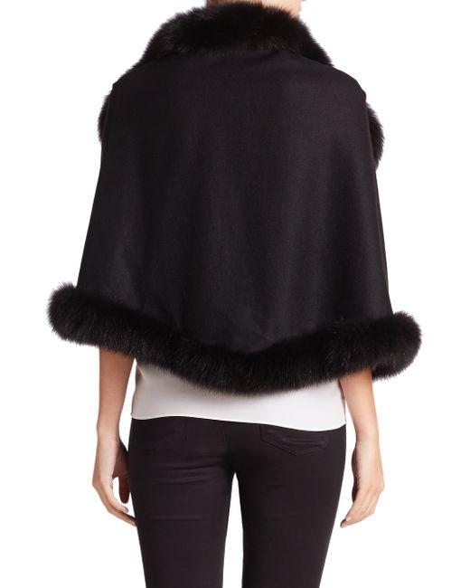 Sofia Cashmere Oblong Fox Fur-trimmed Cashmere Wrap In