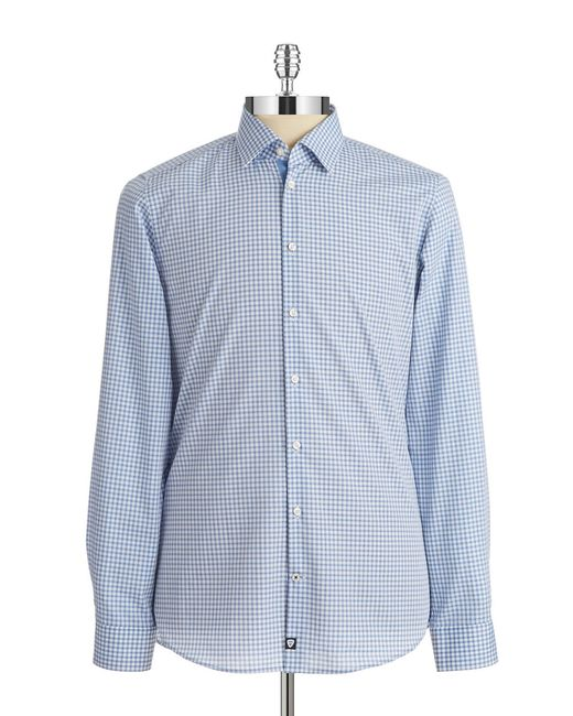 strellson slim fit plaid sportshirt in blue for men navy save 50. Black Bedroom Furniture Sets. Home Design Ideas