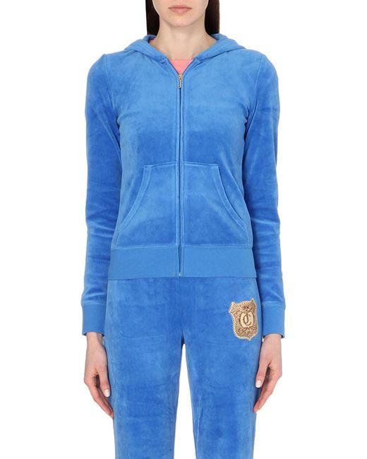 Juicy Couture | Blue Medallion-logo Velour Hoody, Women's, Size: Xs, Summer Rain | Lyst