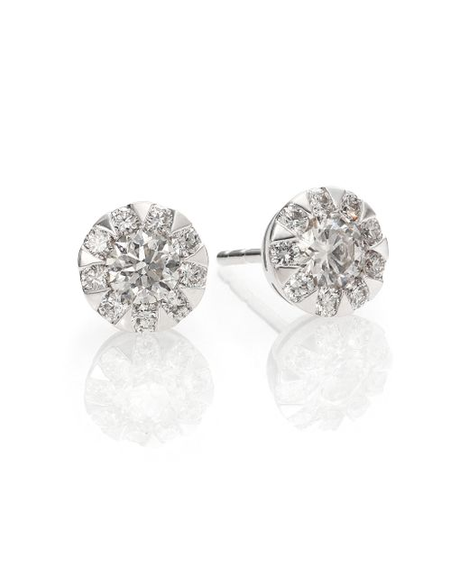 Kwiat | Sunburst Diamond & 18k White Gold Stud Earrings | Lyst