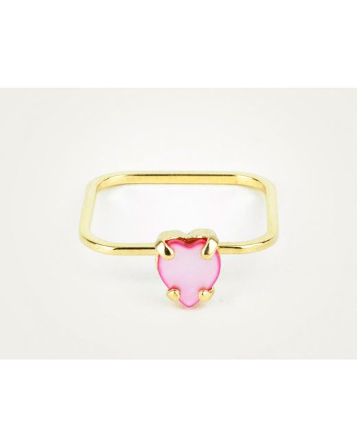 Sabrina Dehoff | Pink Extra Super Fine Ring With Mother Of Pearl Rose Heart | Lyst