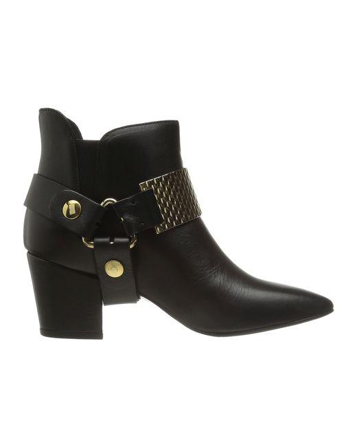 Just Cavalli | Black Low Heel Bootie With Gold Hardware | Lyst