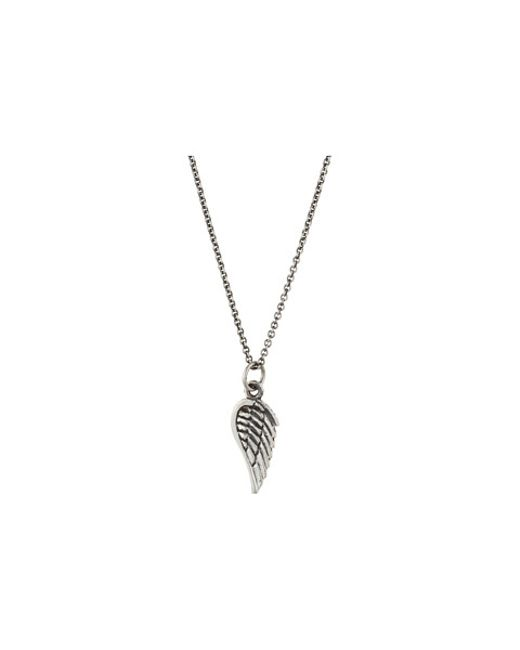 "King Baby Studio | Metallic Micro Wing Pendant On 18"" Micro Rolo Chain 