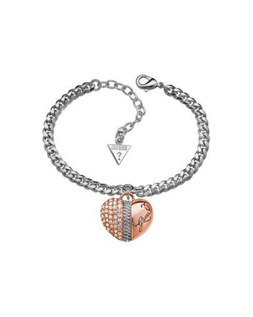 Guess | Metallic Silver-plated Love Bracelet | Lyst