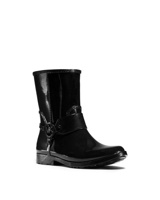 Michael Kors Fulton Harness Rubber Rain Boot In Black Lyst