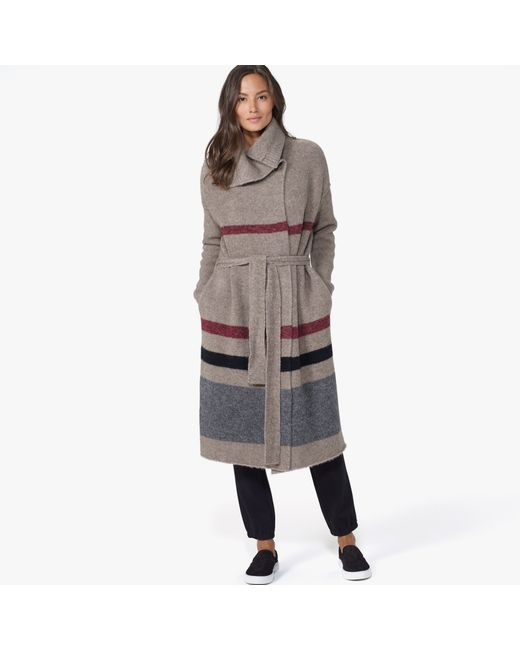 James Perse | Gray Belted Striped Sweater Coat | Lyst
