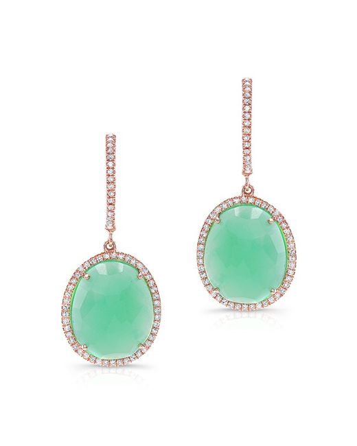 Anne Sisteron | Pink 14kt Rose Gold Chrysoprase Diamond Oval Earrings | Lyst