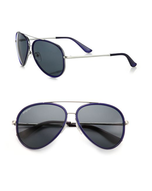 Ferragamo | Blue 58mm Aviator Sunglasses for Men | Lyst