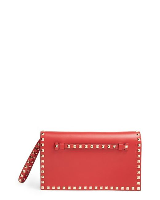 Valentino | Natural 'rockstud' Leather Flap Clutch | Lyst