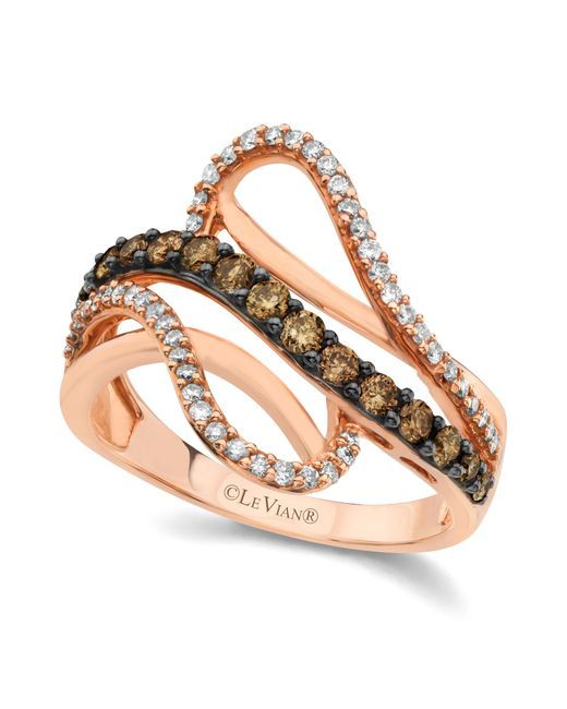 Le Vian | Brown Chocolate And White Diamond Wave Ring (5/8 Ct. T.w.) In 14k Rose Gold | Lyst