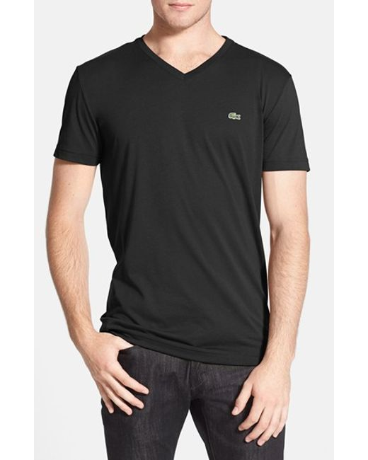 Lacoste   Black Pima Cotton Jersey V-neck T-shirt for Men   Lyst